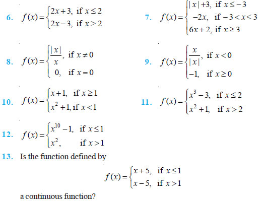 Continuity and Differentiability Class 12 NCERT Solutions