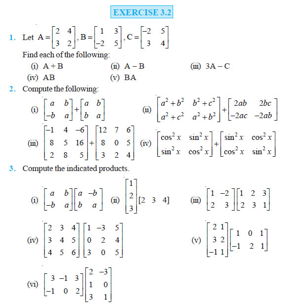 Matrices Class 12 Ncert Solutions