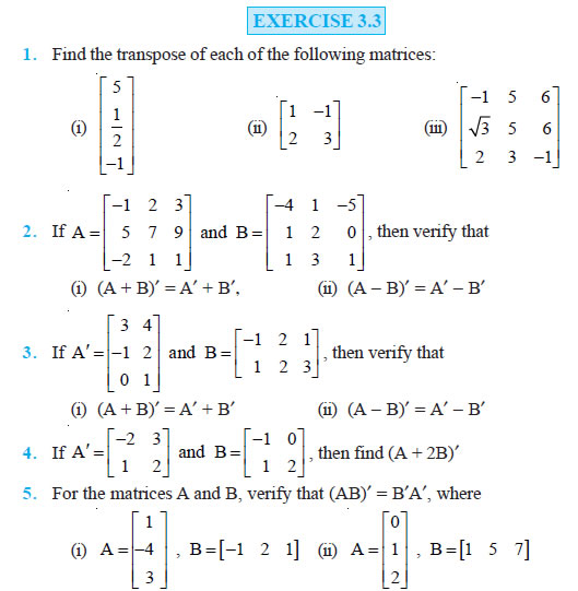Matrices Class 12 NCERT Solutions