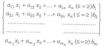 Mathematical Description of a General Linear Programming Problem