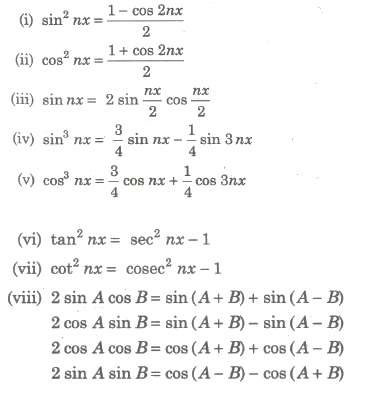 Trigonometric Identities Used for Conversion of Integrals into the Integrable Forms