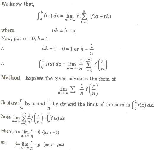 Summation of Series by Definite Integral