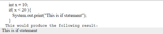 if statement in java