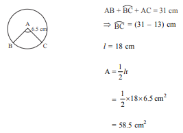 The perimeter of a sector of a circle with radius 6.5 cm is