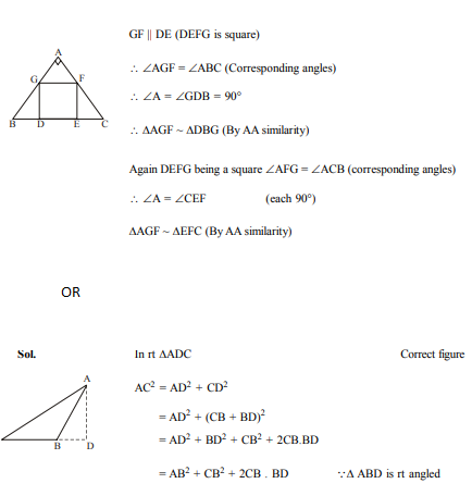 In Fig. 6, DEFG is a square in a triangle ABC right angled at A