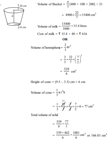 An open metal bucket is in the shape of a frustum of cone of height 21 cm with radii of its