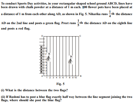 To conduct Sports Day activities, in your rectangular shaped school ground ABCD, lines have