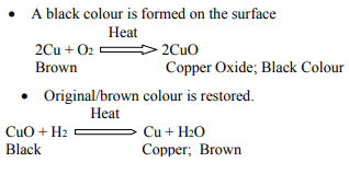 A black colour is formed on the surface