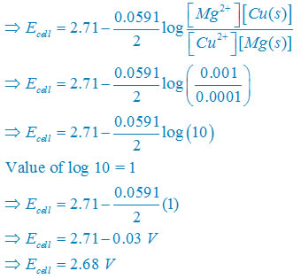 Write the Nernst equation and emf of the following cells at 298 K