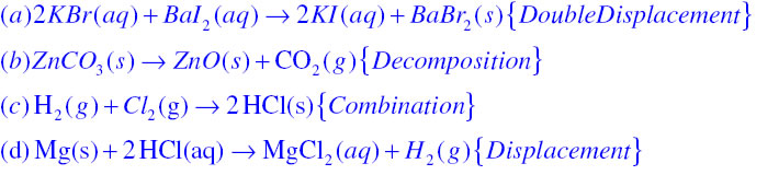 metathesis balanced equation Chemical equations i part i: identify the type of reaction and write a balanced chemical equation for each of the following reactions 1 zinc + sulfur ® zinc sulfide.